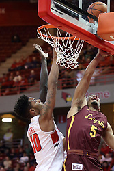 10 January 2018:  Marques Townes gets inside Phil Fayne during a College mens basketball game between the Loyola Chicago Ramblers and Illinois State Redbirds in Redbird Arena, Normal IL