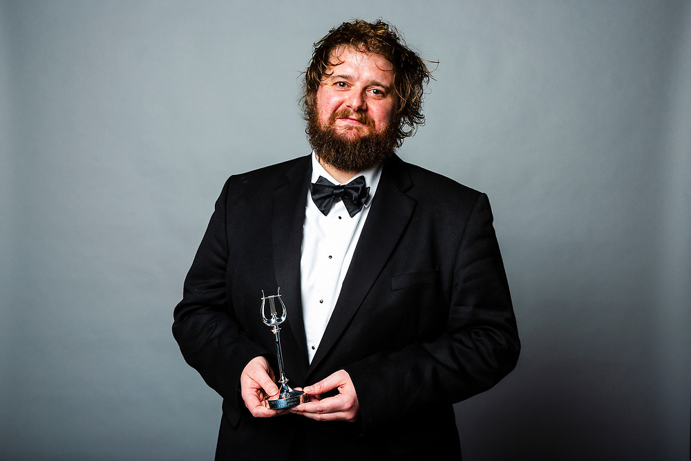 Allan Clayton<br /> Winner of the RPS Music Award for Singer<br /> Photographed at the RPS Music Awards, London, Wednesday 9 May<br /> Photo credit required:  Simon Jay Price<br /> www.rpsmusicawards.com  #RPSMusicAwards