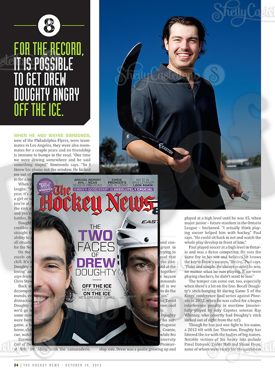 October 2013:  NHL Los Angeles Kings feature in The Hockey News Magazine of #8 Drew Doughty.  Team Canada Winter Olympic player 2014.  Editorial Use.