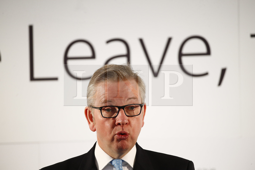 © Licensed to London News Pictures. 19/04/2016. London, UK. Justice Secretary MICHAEL GOVE delivers a speech for Vote Leave campaign at Westminster Tower in London on Tuesday, 19 April 2016. Photo credit: Tolga Akmen/LNP