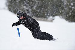 SUUR-HAMARI Matti, banked slalom training, 2015 IPC Snowboarding World Championships, La Molina, Spain