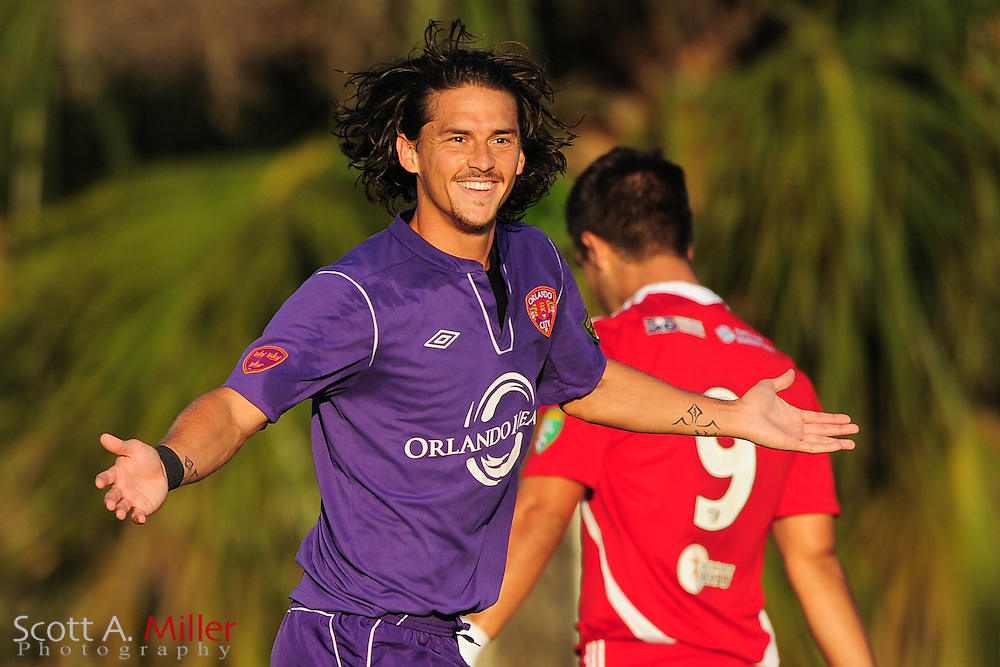 Orlando City's Drew Helms (23) celebrates a goal during the Lions game against the Panama City Beach Pirates in their Premier Development League game at the Seminole Soccer Complex on May 19, 2012 in Sanford, Fla. ..©2012 Scott A. Miller.