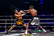 Elie KONKI (FRA) and Pablo NARVAEZ (NIC) during the Boxing event, La Conquete Tony Yoka, round 4, heavyweight boxing bout between Tony Yoka (FRA) and Cyril Leonet (FRA) on April 7, 2018 at Dome de Paris - Palais des Sports in Paris, France - Photo Pierre Charlier / ProSportsImages / DPPI