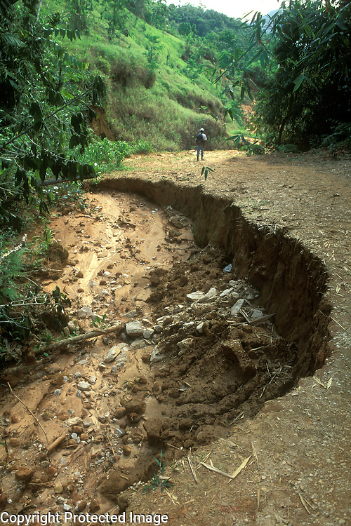 Erosion of dirt road caused by rain Serra do Mar, Rio de Janeiro State, Brazil.