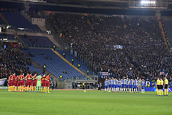 12.02.2019, Stadio Olimpico, Rom, ITA, UEFA CL, AS Roma vs FC Porto, Achtelfinale, Hinspiel, im Bild minuto di silenzio per Emiliano Sala, minute of silence for Emiliano Sala during the UEFA Champions League round of 16, 1st leg match between AS Roma and FC Porto at the Stadio Olimpico in Rom, Italy on 2019/02/12. EXPA Pictures © 2019, PhotoCredit: EXPA/ laPresse/ Alfredo Falcone<br /> ALFREDO<br /> <br /> *****ATTENTION - for AUT, SUI, CRO, SLO only*****