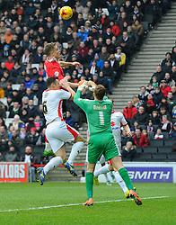 Bristol City's Matt Smith jumps for a cross  - Photo mandatory by-line: Joe Meredith/JMP - Mobile: 07966 386802 - 07/02/2015 - SPORT - Football - Milton Keynes - Stadium MK - MK Dons v Bristol City - Sky Bet League One