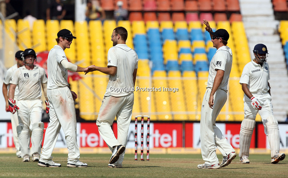 New Zealand Captain Daniel Vettori Celebrates With Team Mates Indian Batsman VVS Laxman Wicket During The 1st Test India vs New Zealand Played at Sardar Patel Stadium, Motera, Ahmedabad