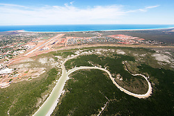 Aerial view of Roebuck Bay and Broome over Dampier Creek