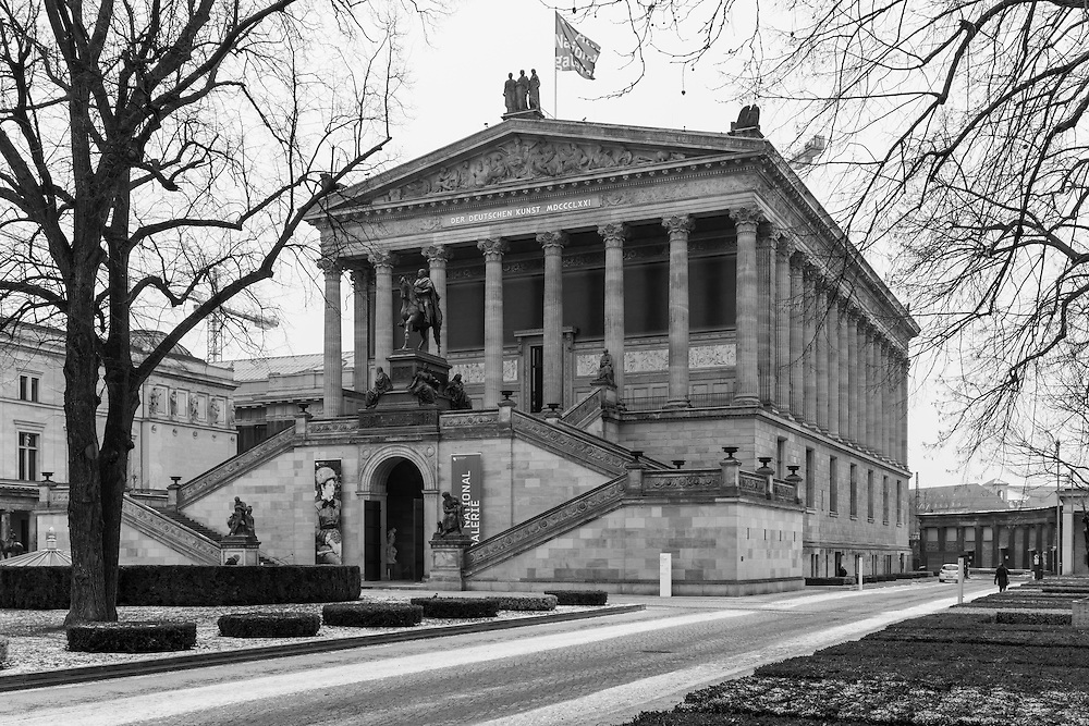 "The Alte Nationalgalerie in Berlin, Germany and located on what is known locally as Museum Island, was built in 1861 as an exprseeion of ""the unity of art, nation, and history"""