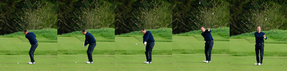 **A composite of images showing David Cameron's golf swing** © Licensed to London News Pictures. 23/04/2016. Chandler's Cross, UK. President of The United States of America, BARAK OBAMA, playing golf with British prime minister DAVID CAMERON at The Grove golf Course in Chandler's Cross, Hertfordshire. Photo credit: Ben Cawthra/LNP