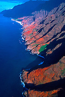Aerial view of the Na Pali Coast, Kaua'i, Hawaii