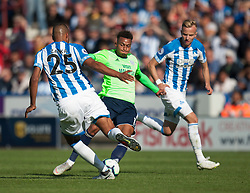 Mathias Zanka Jorgensen of Huddersfield Town (L) and Josh Murphy of Cardiff City in action - Mandatory by-line: Jack Phillips/JMP - 25/08/2018 - FOOTBALL - The John Smith's Stadium - Huddersfield, England - Huddersfield Town v Cardiff City - English Premier League