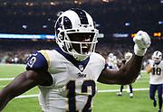 Nov 4, 2018; New Orleans, LA, USA: Los Angeles Rams wide receiver Brandin Cooks (12) celebrates a touchdown against the New Orleans Saints at the Mercedes-Benz Superdome. The Saints beat the Rams 45-35. (Steve Jacobson/Image of Sport)