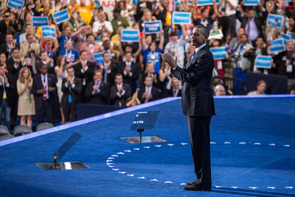 President Barack Obama claps after speaking at the Democratic National Convention on Thursday, September 6, 2012 in Charlotte, NC.