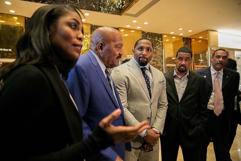 NEW YORK, NY - DECEMBER 13, 2016: Omarosa Manigualt, NFL stars Jim Brown and Ray Lewis, Pastor Darrell Scott and Bruce LeVell, Executive Director of the National Diversity Coalition for Trump, speak to reporters in the lobby of Trump Tower in New York, New York. CREDIT: Sam Hodgson for The New York Times.