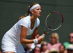 30.06.2012, Wimbledon, London, ENG, WTA Tour, The Championships Wimbledon, im Bild Petra Kvitova (CZE) during the Ladies' Singles 3rd Round match during day six of the WTA Tour Wimbledon Lawn Tennis Championships at the All England Lawn Tennis and Croquet Club, London, Great Britain on 2012/06/30. EXPA Pictures © 2012, PhotoCredit: EXPA/ Propagandaphoto/ David Rawcliff..***** ATTENTION - OUT OF ENG, GBR, UK *****