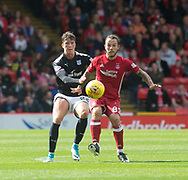 August 19th 2017, Pittodrie Stadium, Aberdeen, Scotland;  Scottish Premiership football, Aberdeen versus Dundee; Aberdeen's Stevie May and Dundee's Jack Hendry battle for the ball