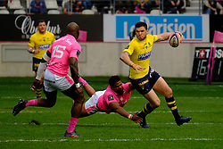 April 7, 2018 - Paris, France - Clermont Wing REMY GROSSO in action during the French rugby championship Top 14 match between Stade Francais and Clermont at Jean Bouin Stadium in Paris - France..Stade Francais won 50-13 (Credit Image: © Pierre Stevenin via ZUMA Wire)