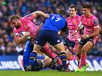 Rugby Union - 2017 / 2018 European Rugby Champions Cup - Pool Three: Leinster vs. Exeter Chiefs<br /> <br /> Exeter's Luke Cowan-Dickie is tackled by Leinster's Ross Byrne and Jack McGrath, at Aviva Stadium, Dublin.<br /> <br /> COLORSPORT/KEN SUTTON