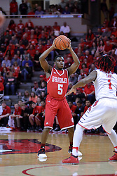 11 February 2017:  Darrell Brown defended by Paris Lee(1) during a College MVC (Missouri Valley conference) mens basketball game between the Bradley Braves and Illinois State Redbirds in  Redbird Arena, Normal IL