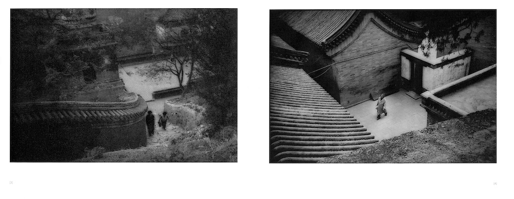 """L:  Ascending a staircase.  Near Beijing, China.  1995..R:  Woman crosses the courtyard of a """"hutong"""" (alley) carrying a kettle for tea.  Near Beijing, China.  1995"""