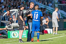 09.08.2015, Stadion Lohmühle, Luebeck, GER, DFB Pokal, VfB Luebeck vs SC Paderborn 07, 1. Runde, im Bild Paderborns Trainer Markus Gellhaus und Mahir Saglik (Nr. 10, SC Paderborn) // during German DFB Pokal first round match between VfB Luebeck vs SC Paderborn 07 at the Stadion Lohmühle in Luebeck, Germany on 2015/08/09. EXPA Pictures © 2015, PhotoCredit: EXPA/ Eibner-Pressefoto/ KOENIG<br /> <br /> *****ATTENTION - OUT of GER*****