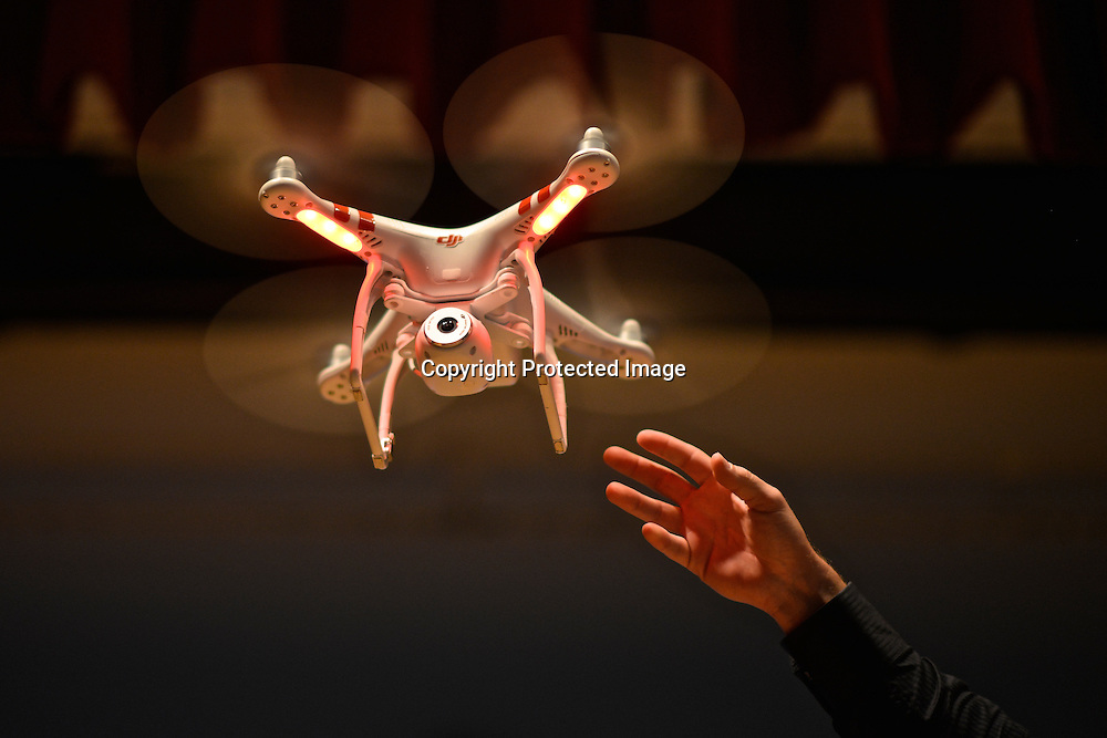 Phantom drone during Colin´s Guinn presentation at the Drones and Aerial Robotics Conference (DARC), held at New York University. Guinn is CEO of DJI Innovations, with more than 15 years in aerial photography and component design.