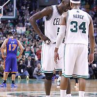 04 March 2012: Boston Celtics power forward Kevin Garnett (5) celebrates with Boston Celtics small forward Paul Pierce (34) during the Boston Celtics 115-111 (OT) victory over the New York Knicks at the TD Garden, Boston, Massachusetts, USA.