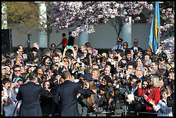 President Obama and The First Lady welcome the Prime Minister David Cameron and his Wife Samantha wave to the crowds from the White House during the welcoming ceremony on the lawn of the White House , Wednesday March 14, 2012 . Photo By Andrew Parsons/ i-Images