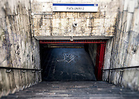 Entrance to the subway station in Piata Unirii, in downtown Bucharest