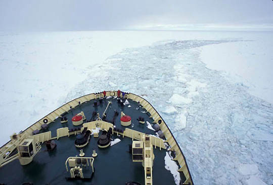 Antarctica, Russian ice- breaker Kapitan Dranitsyn working to break pack ice on Weddell Sea.
