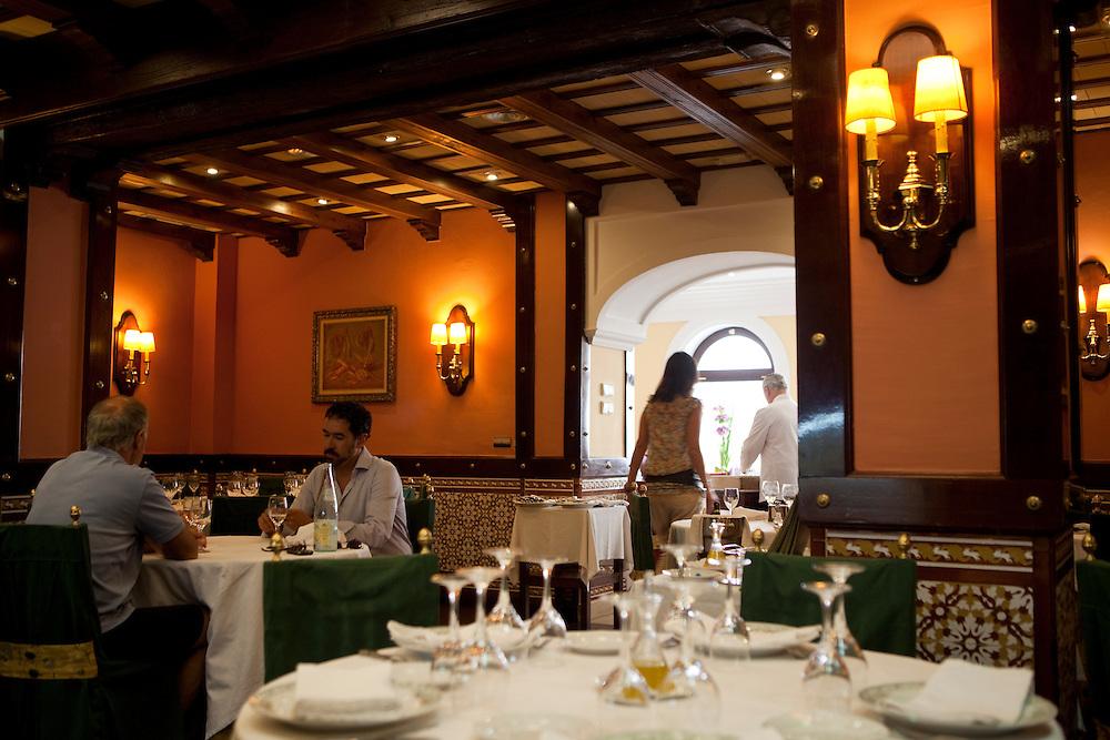 Dinning room at El Faro de Cádiz restaurant, in La Viña quarter, Cadiz, Andalucía, Spain.