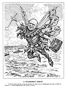 "A Wandering Sprite. (""My first duty will be to journey abroad, not only to go to Washintgton, but also, I think, to Moscow.""  Viscount Beaverbrook in the House of Lords.) (Beaverbrook as a fairy carries his diplomatic bag of Production)"