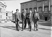 1983-11-83.11th Octoer 1983.11-10-1983.10-11-83..Photographed at Seanad Éireann..Striding Forward: ..Four members of Seanad Éireann enjoy the rare rays of an October sun outside the Upper House of the Oireachtas in Dublin.