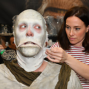 Oscar-winning make-up artist Lucy Sibbick demo at Mouldlife stand at IMATS London on 18 May 2019,  London, UK.