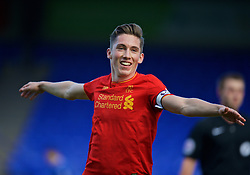 BIRKENHEAD, ENGLAND - Sunday, October 23, 2016: Liverpool's captain Harry Wilson celebrates scoring the second goal against Everton during the Mini-Derby FA Premier League 2 Under-23 match at Prenton Park. (Pic by David Rawcliffe/Propaganda)