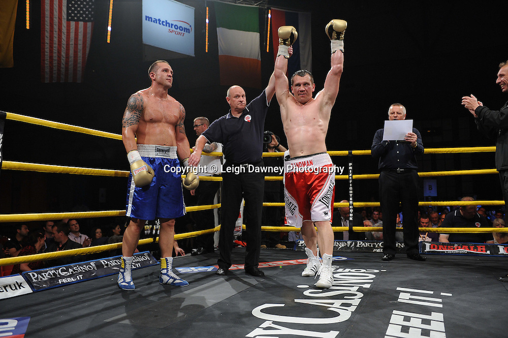 Konstantin Airich celebrates his win against Lucian Bot in Quarter Final 4 at Prizefighter International on Saturday 7th May 2011. Prizefighter / Matchroom. Photo credit © Leigh Dawney. Alexandra Palace, London.