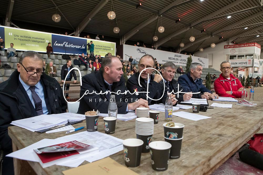 Keuringscommissie, Bode H, Van Den Broeck H, Heylen T, Van Tricht T<br /> Hengstenkeuring BWP - Lier 2019<br /> © Hippo Foto - Dirk Caremans<br /> 18/01/2019