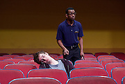 The Flick <br /> by Annie Baker <br /> at the Dorfman Theatre, National Theatre, Southbank, London, Great Britain <br /> 18th April 2016 <br /> <br /> <br /> <br /> Jaygann Ayeh as Avery <br /> <br /> Sam Heron as The Dreaming Man <br /> <br /> Photograph by Elliott Franks <br /> Image licensed to Elliott Franks Photography Services