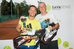 Journalists Peter Pevc and Edi Sep at trophy ceremony after the Tennis tournament for amateurs organised by Tenis Slovenija,  on June 24, 2017 in Tivoli, Ljubljana, Slovenia. Photo by Vid Ponikvar / Sportida