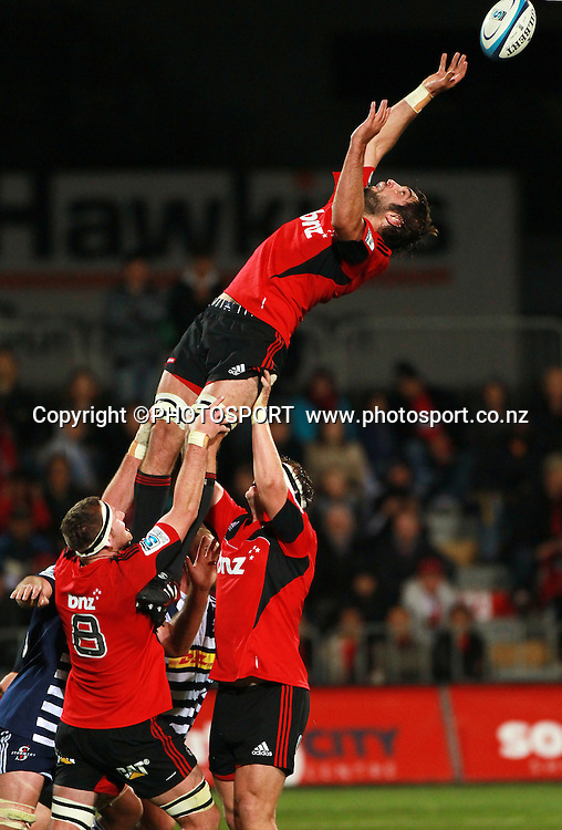 Samuel Whitelock jumps in the lineout for the Crusaders. Super Rugby game between the Crusaders and the Stormers. Crusaders new Christchurch Stadium at Rugby League Park, Saturday 14 April 2012. Photo : Joseph Johnson / photosport.co.nz