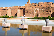 Art installation, El Badi Palace Architecture, Marrakesh, Morocco, 2016–04-22.<br /><br />The El Badi Palace and sunken gardens are a short walk from Bahia, within the old, towering Medina walls of the Mellah. <br /><br />Commissioned by the Arab Saadian sultan Ahmad-al-Mansur and completed in 1593, the complex took 25 years to build and is considered to be some of the finest examples of Saadian architecture in Moroco. <br />A ruined palace, the site is often being renovated and restored, but remains to be many peoples favourite Marrakesh palace experience.
