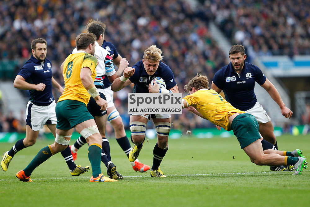 TWICKENHAM, ENGLAND - OCTOBER 18:  D Denton of Scotland tackled by M Hooper of Australia during the 2015 Rugby World Cup quarter final between Scotland and Australia at Twickenham Stadium on October 18, 2015 in London, England. (Credit: SAM TODD | SportPix.org.uk)