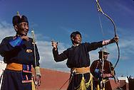Mongolia. Archery, one of the three virile sports - dalanzadgad, the Gobi desert