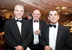 CARDIFF, WALES - Tuesday, October 7, 2008: Sky Sports' Bryn Law, Press Association's Paul Walker and Daily Post Wales' Mark Currie at the Brains Beer Wales Football Awards at the Millennium Stadium. (Photo by David Rawcliffe/Propaganda)