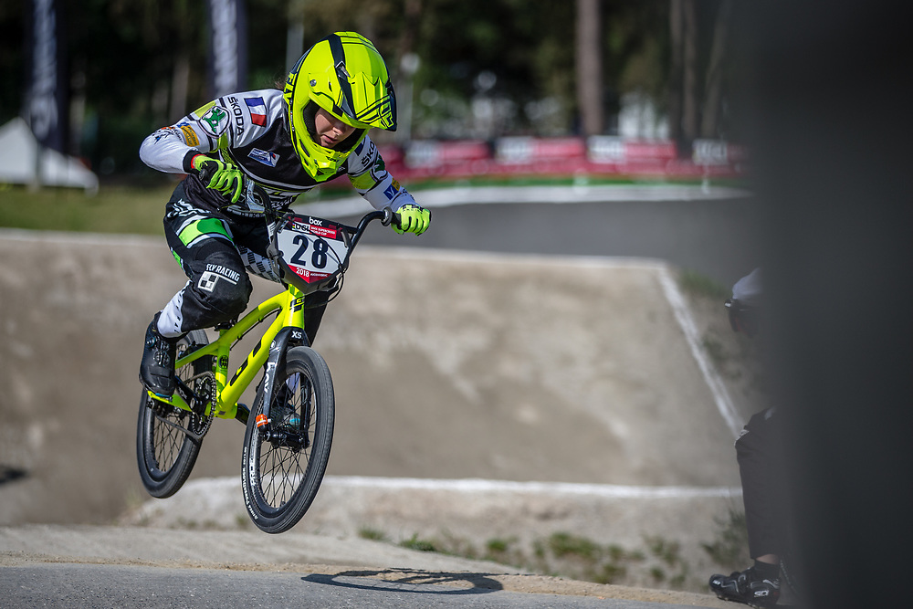 #28 (DOUDOUX Mathilde) FRA during practice at Round 5 of the 2018 UCI BMX Superscross World Cup in Zolder, Belgium