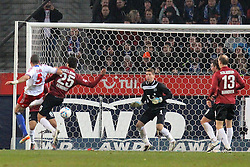 26.11.2011, AWD-Arena, Hannover, GER, 1.FBL, Hannover 96 vs FC Schalke 04, im Bild Bruma-van Homoet #5 zum 1:0 gegen Mohammed Abdellaoue #25_Steven Cherundolo #6 und TW Ron-Robert Zieler 1.. // during the match from GER, 1.FBL, Hannover 96 vs FC Schalke 04 on 2011/11/06, AWD-Arena, Hannover, Germany. .EXPA Pictures © 2011, PhotoCredit: EXPA/ nph/ Rust..***** ATTENTION - OUT OF GER, CRO *****