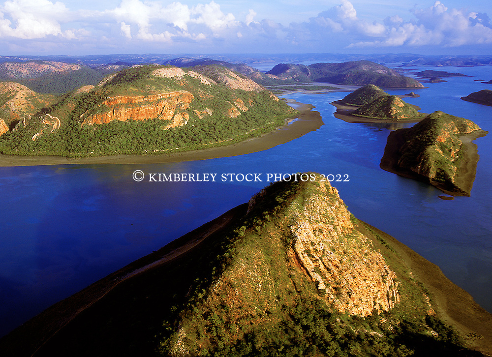 Storms build in the wet season behind Dugong Bay on the Kimberley coast, part of the Buccaneer Archipelago.