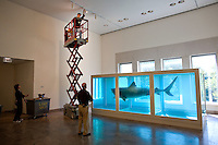 "Damien Hirst's ""The Physical Impossibility of Death in the Mind of Someone Living"" from the Steven and Alexander Cohen Collection is installed at the Metropolitan Museum of Art, Monday, Oct. 15, 2007. Photographer: Robert Caplin For The New York TImes"