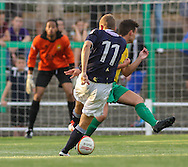 Picture by David Horn/Focus Images Ltd +44 7545 970036<br /> 16/07/2013<br /> Dave Martin of Luton Town get a shot on goal during the Pre Season Friendly match at Top Field, Hitchin.